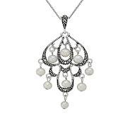 Suspicion Sterling Marcasite & Cultured Pearl Pendant w/Chain - J304477
