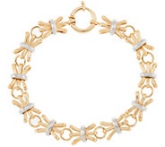 14K Gold 8 Textured & Polished Alternating Bracelet, 8.1g - J320877