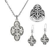 Scott Kay Sterling & Diamonique Filigree Cross Ring & Earrings - J322777