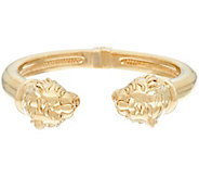 14K Gold Small Polished Lion Head Cuff Bracelet - J324877