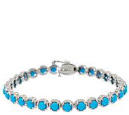 Sleeping Beauty Turquoise 7-1/4 Sterling Diamond Cut Tennis Bracelet - J326477