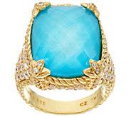 Judith Ripka 14K Clad Turquoise Doublet Monaco Ring - J327577