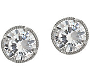 Diamonique Textured Stud Earrings, Sterling or 14K Clad - J328277