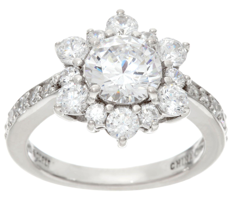 Diamonique Multi Stone Floral Design Ring, Sterling - Page ...