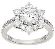 Diamonique Multi Stone Floral Design Ring, Sterling - J330577