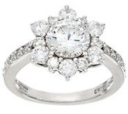 Diamonique Multi Stone Floral Design Ring, Sterling - J330577