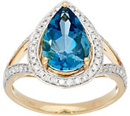 3.10 ct. London Blue Topaz & 1/3 cttw Diamond Ring 14K Gold - J331277