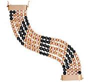 As Is Honora Cultured Pearl 6.5mm Hematite Multi-Row Bronze Bracelet - J333377