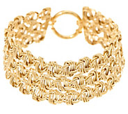 14K Gold 6-3/4 3-Row Woven Polished & Textured Bracelet, 10.8g - J333577