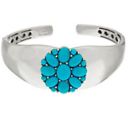 As IsSleeping BeautyTurquoise Sterling Silver Flower Design Hinged Cuff - J335177