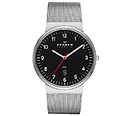 Skagen Mens Stainless Steel Mesh Bracelet Black Dial Watch - J336277