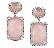 Judith Ripka Sterling Rose Quartz & DiamoniqueDrop Earrings - J336377