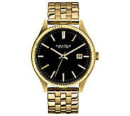 Caravelle New York Mens Black Dial Goldtone Bracelet Watch - J336577