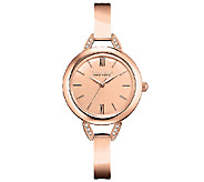 Caravelle New York Womens Rosetone Bangle Watch - J336877