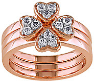 1/2cttw White Topaz Floral Stack Ring Set, Sterling & Bronze - J338077