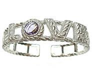 Judith Ripka Sterling 2.15 cttw Amethyst LoveCuff Bracelet - J338677