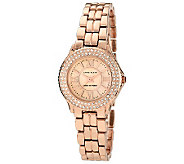 Anne Klein Womens Crystal Accent Rosetone Bracelet Watch - J338777