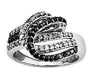 Sterling 3/4cttw Black & White Diamond Horseshoe Ring - J338877