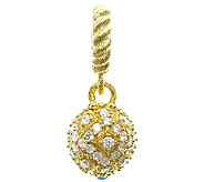 Judith Ripka Sterling 14K Clad Sapphire & Diamonique Charm - J339077