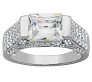 Diamonique Sterling 3.90cttw East/West Radiant-Cut Ring - J340777