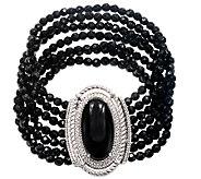 Judith Ripka Sterling 3-Strand Black Onyx Bead7-1/2 Bracelet - J340877