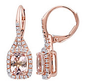 1/7 cttw Diamond & 1.60 cttw Morganite Earrings, 14K Rose Gol - J342177