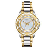 Bulova Womens Diamond Accent Two-tone BraceletWatch - J343577