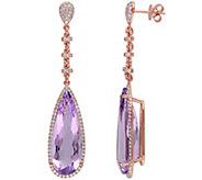 19.90 cttw Amethyst & 8/10 cttw Diamond DangleEarrings, 14K - J344077