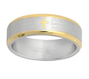 Two-tone Stainless Steel Our Father Prayer Ring - J344477