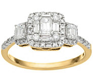 As Is Emerald Cut Cluster Design Diamond Ring, 14K, 1.00 cttw, Affinity - J346577