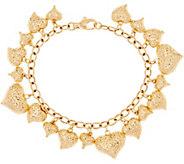 Vicenza Gold 8 Heart Charm Bracelet 14K Gold, 10.7g - J348177