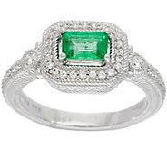 Judith Ripka Sterling Silver 0.45 ct Zambian Emerald Ring - J350277