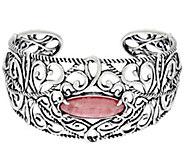 As Is Carolyn Pollack Sterling Silver Rhodochrosite Cuff Bracelet - J350377