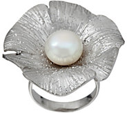 As Is Honora Cultured Pearl Sterling Silver Flower Ring - J351677