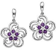 14K White Gold Gemstone & Diamond Accent Floral Earrings - J374977