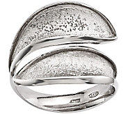 Sterling Bypass Textured Adjustable Ring by Silver Style - J375677