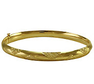 EternaGold 7 Cross-Hatch Pattern 14K Gold TubeBangle - J107678