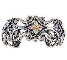 Black Hills Antiqued Cuff Bracelet, Sterling/10 K/12K Gold