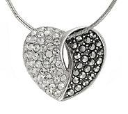 Suspicion Sterling Marcasite & Crystal Heart Pendant w/Chain - J112478