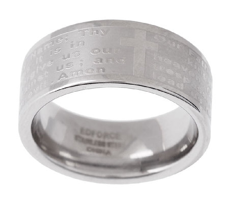 "Stainless Steel Silk Fit ""Our Father"" Prayer Ring"
