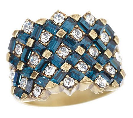 La Vintage Turkish Weave Criss-Cross Baguette Band Ring