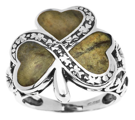 Sterling Silver Connemara Marble Shamrock Ring J273978