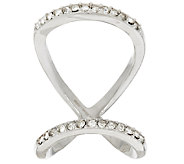 Stainless Steel Open Double Row Crystal Ring - J277478