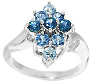 1.10 cts tw Montana Sapphire Cluster Ring 14K Gold - J283378