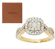 Twisted Band Cluster Halo Diamond Ring, 14K, 1.00 cttw, by Affinity - J287678