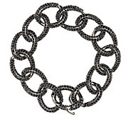 Vicenza Silver Sterling 6-3/4 15.00 ct tw Black Spinel Curb Bracelet - J288278