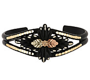 Black Hills Eclipse Diamond Cut Feather Design Cuff 10K/12K - J288778