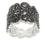 1.45 ct tw Black Spinel Sterling Lace Design Ring - J289078