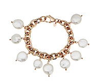 Honora Coin Cultured Pearl 6-3/4 Bronze Charm Bracelet - J291578