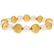 Veronese 18K Clad 6-3/4 Cultured Pearl & Satin Bead Bracelet - J293578